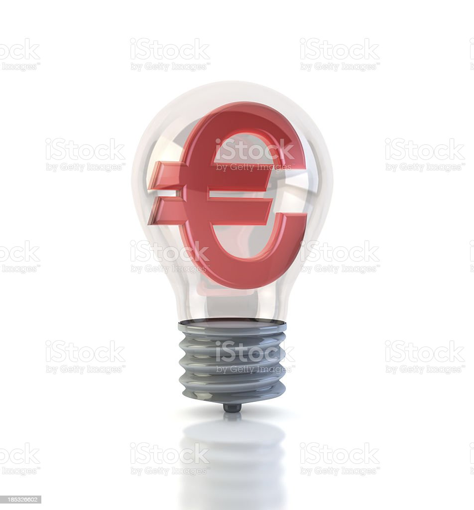 Euro in Light Bulb royalty-free stock photo