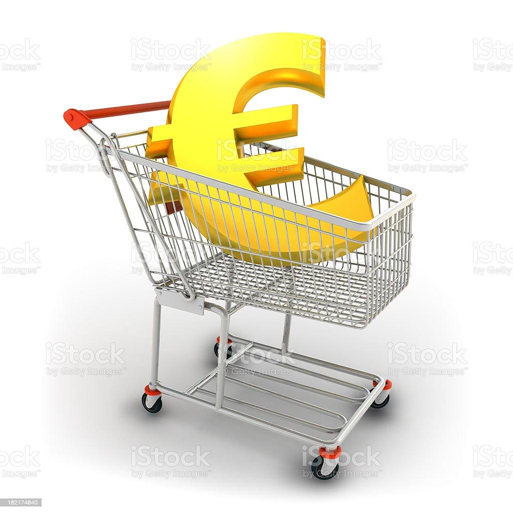 Euro in shopping cart royalty-free stock photo