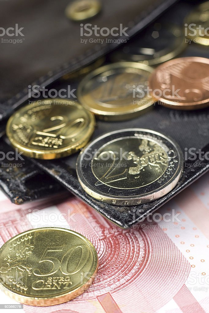 Euro in wallet royalty-free stock photo