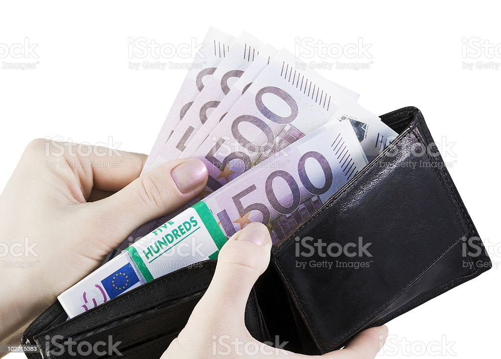 euro in your wallet royalty-free stock photo
