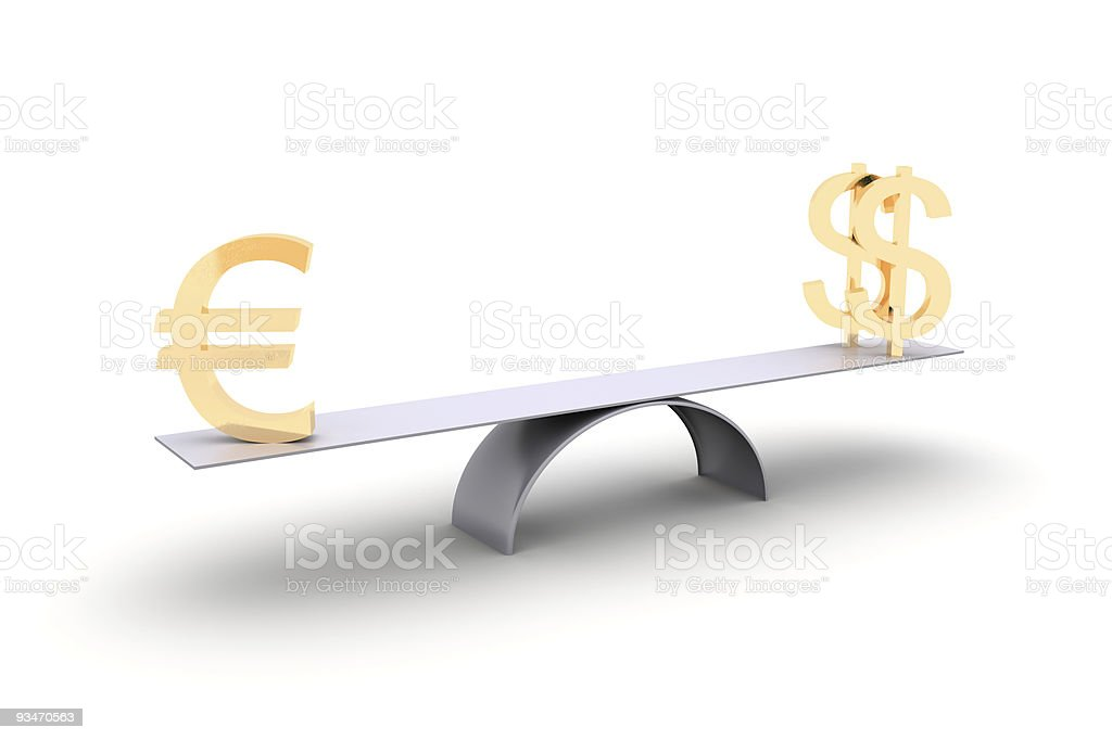 Euro is two dollars royalty-free stock photo