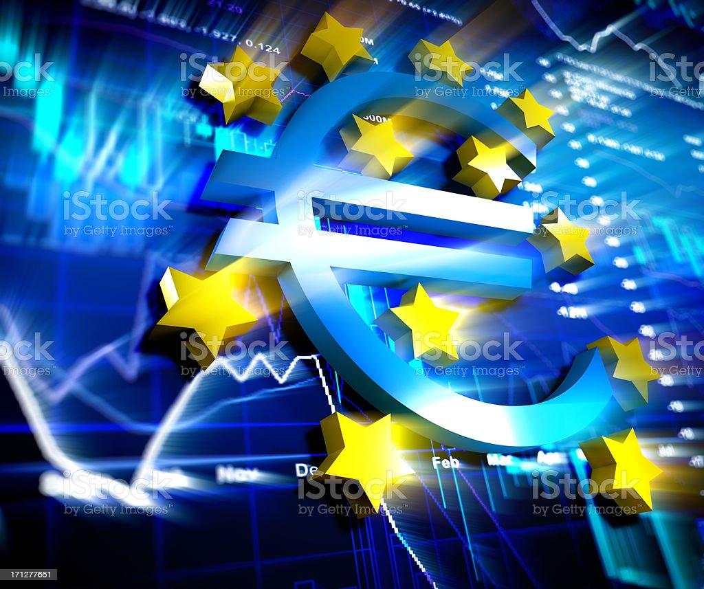 Euro logo with chart background stock photo