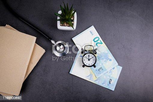 1029077176istockphoto Euro money and stethoscope on concrete table 1169500892