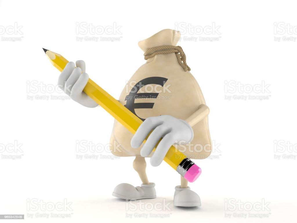 Euro money bag character holding pencil royalty-free stock photo
