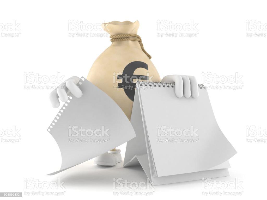 Euro money bag character with blank calendar - Royalty-free Bag Stock Photo