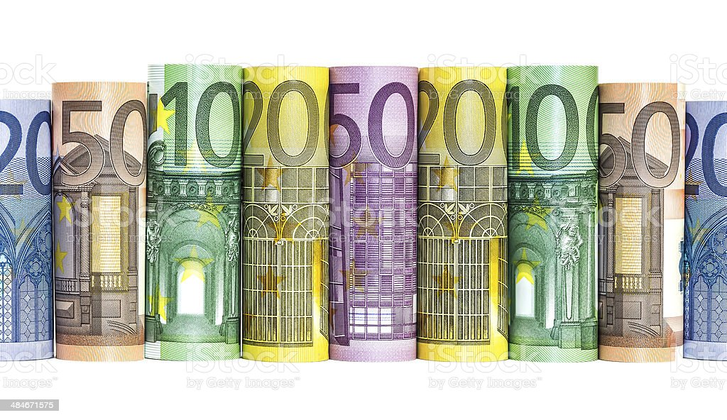 Euro Money Banknotes Rolled stock photo