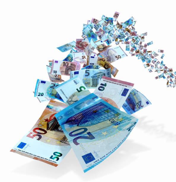 euro-geldscheine fliegen - euro symbol stock-fotos und bilder