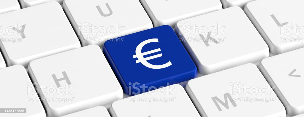 Euro Money Blue Key Button With Euro Sign On A Computer Keyboard Banner 3d Illustration Stock Photo Download Image Now Istock