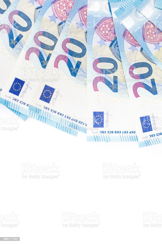 Euro money: closeup of banknotes and coins royalty-free stock photo