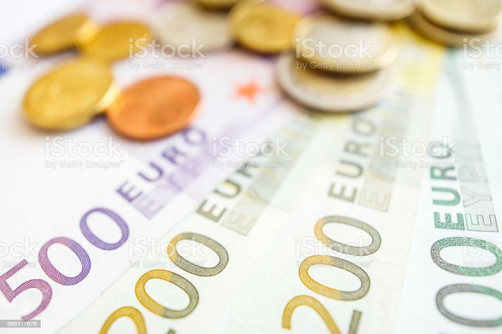 Euro money: closeup of banknotes and coins zbiór zdjęć royalty-free
