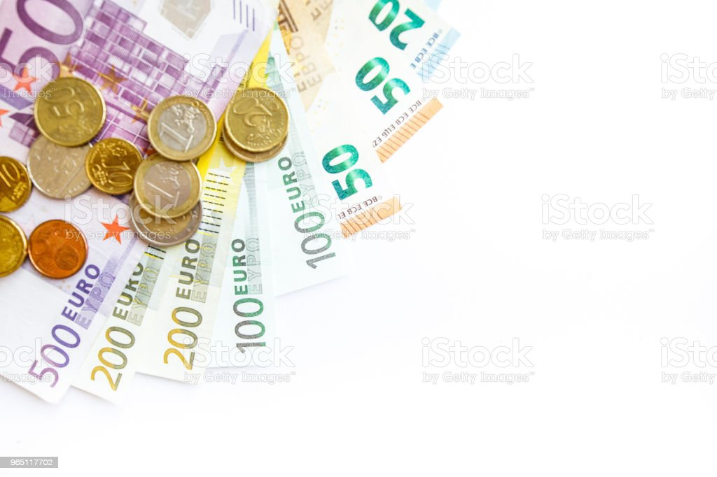 Euro money: closeup of banknotes and coins zbiór zdjęć royalty-free