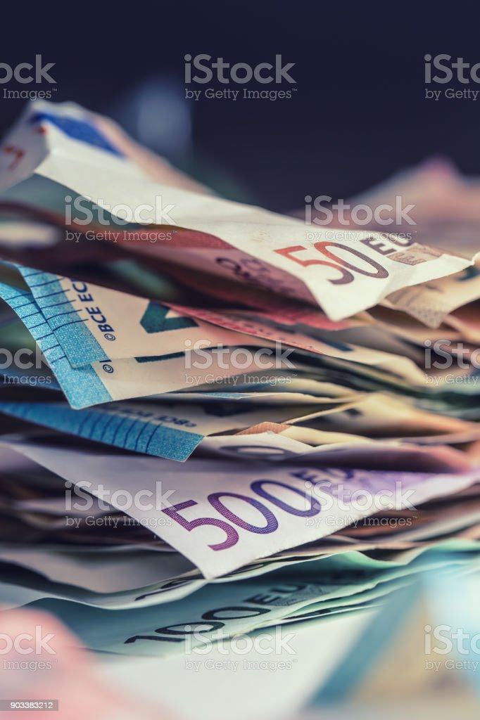 Euro money euro banknotes euro currency. Lying loose euro banknotes stock photo