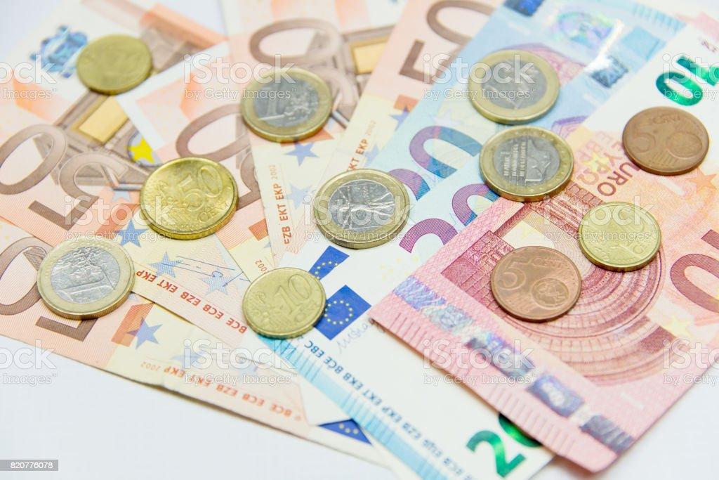 Euro Money. Euro cash background. Euro Banknotes. Selected focus. stock photo