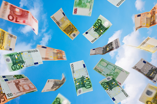Euro Money Fallig Down On The Sky Stock Photo - Download Image Now