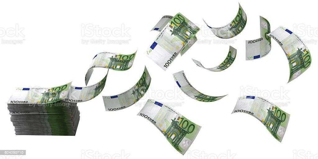 Euro money flying finance cash flow concept stock photo