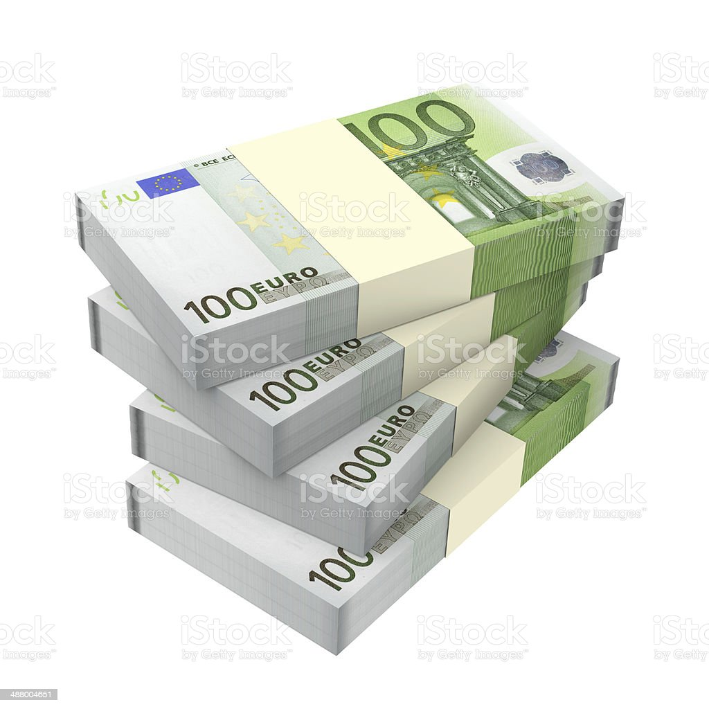 Euro money isolated on white background. stock photo