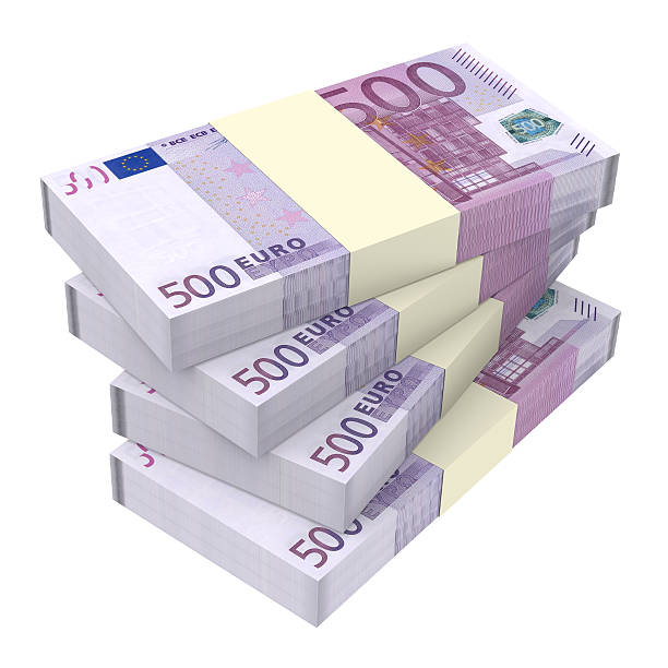 Euro money isolated on white background. Computer generated 3D photo rendering. european union currency stock pictures, royalty-free photos & images