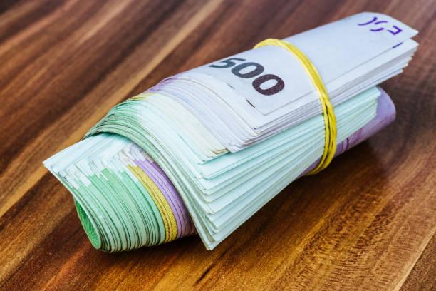 Euro money roll stock photo