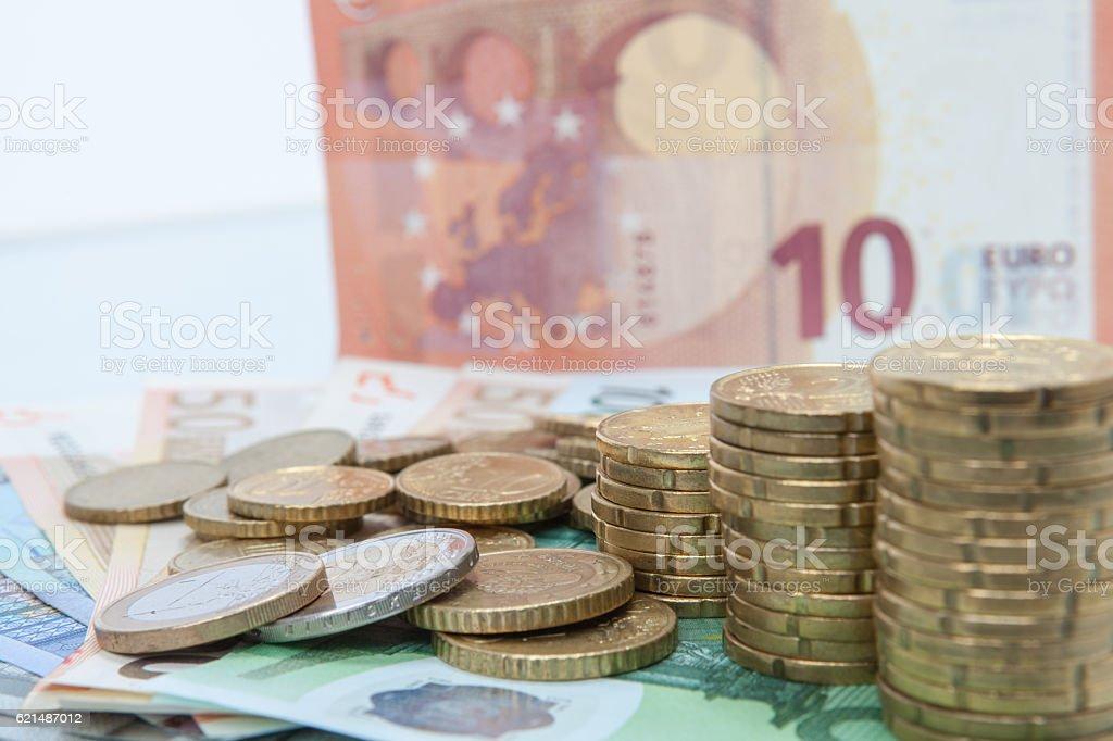 euro argent des piles photo libre de droits