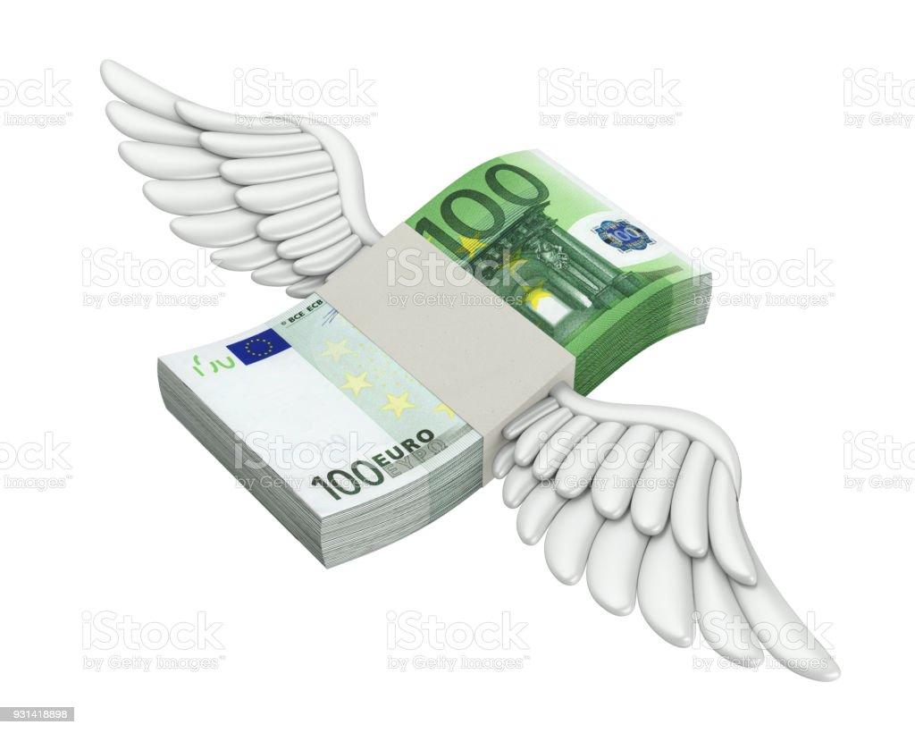 Euro Money Wings Flying Isolated stock photo
