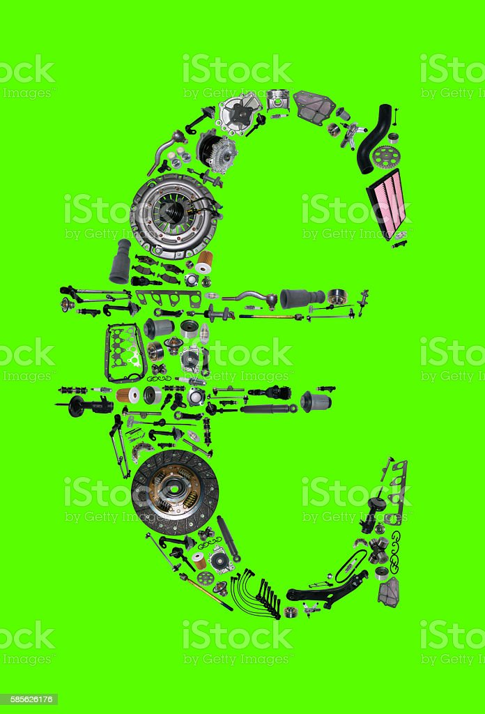 Euro money with auto parts for car stock photo