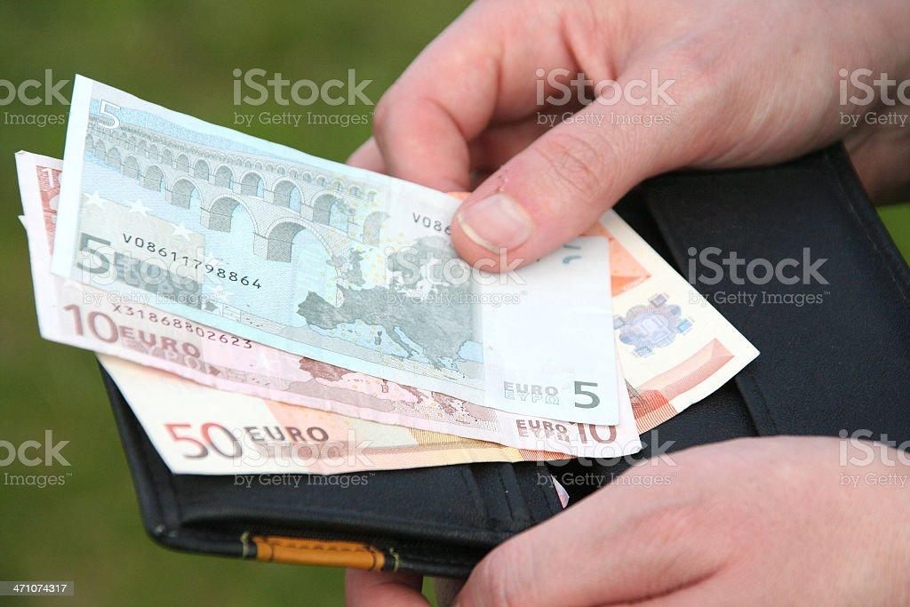 euro money,wallet,hands stock photo