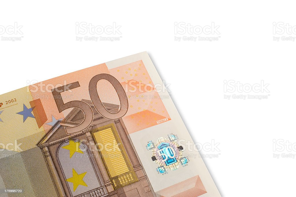 Euro note of 50 with hologram up close stock photo