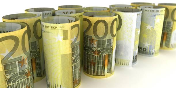 200 euro nota rollos - 3d ilustración - foto de stock