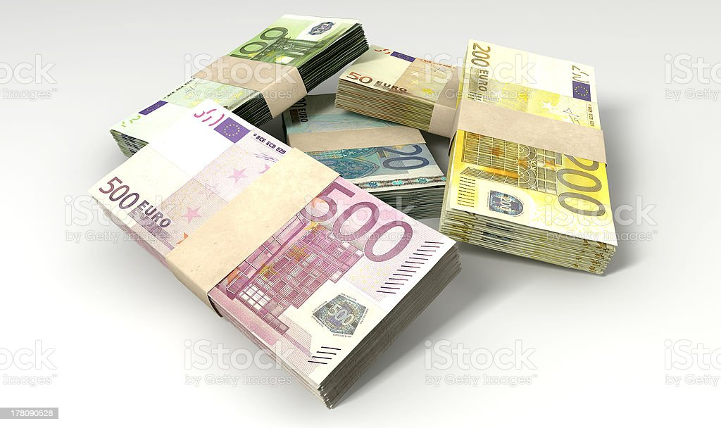 Euro Notes Collection Pile Close royalty-free stock photo