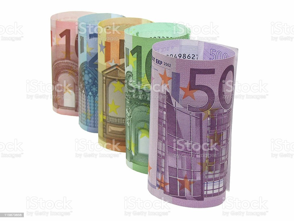 Euro notes in a row royalty-free stock photo