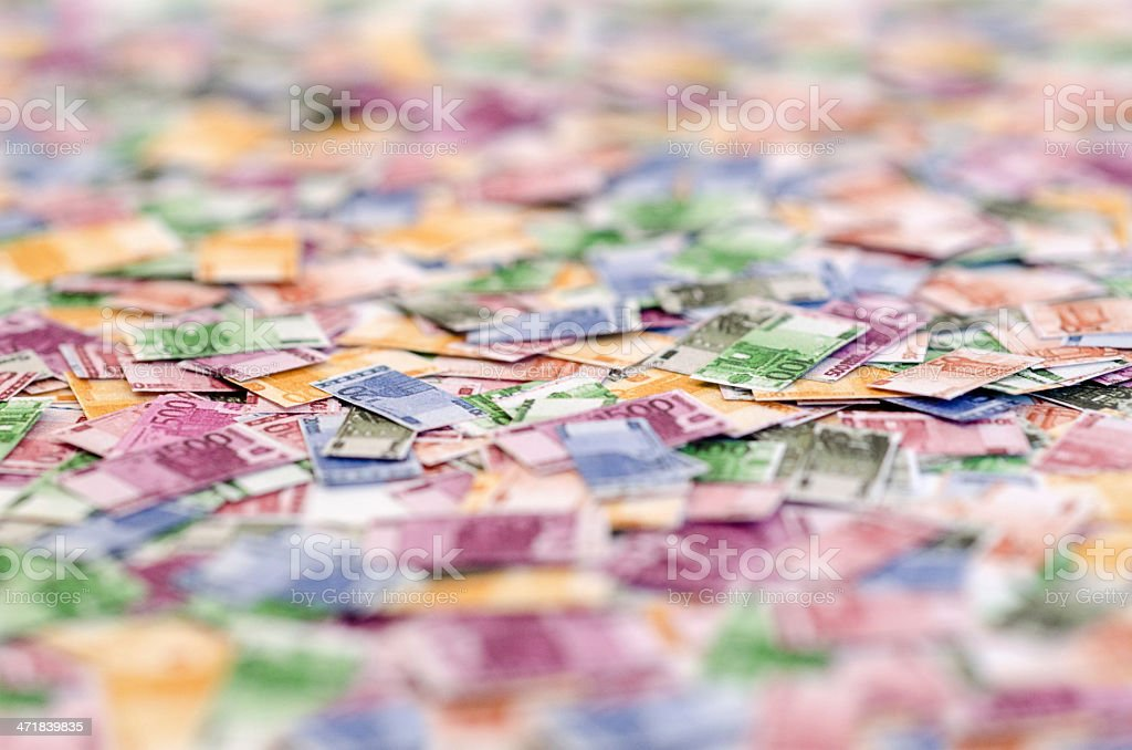 Euro notes in miniature royalty-free stock photo