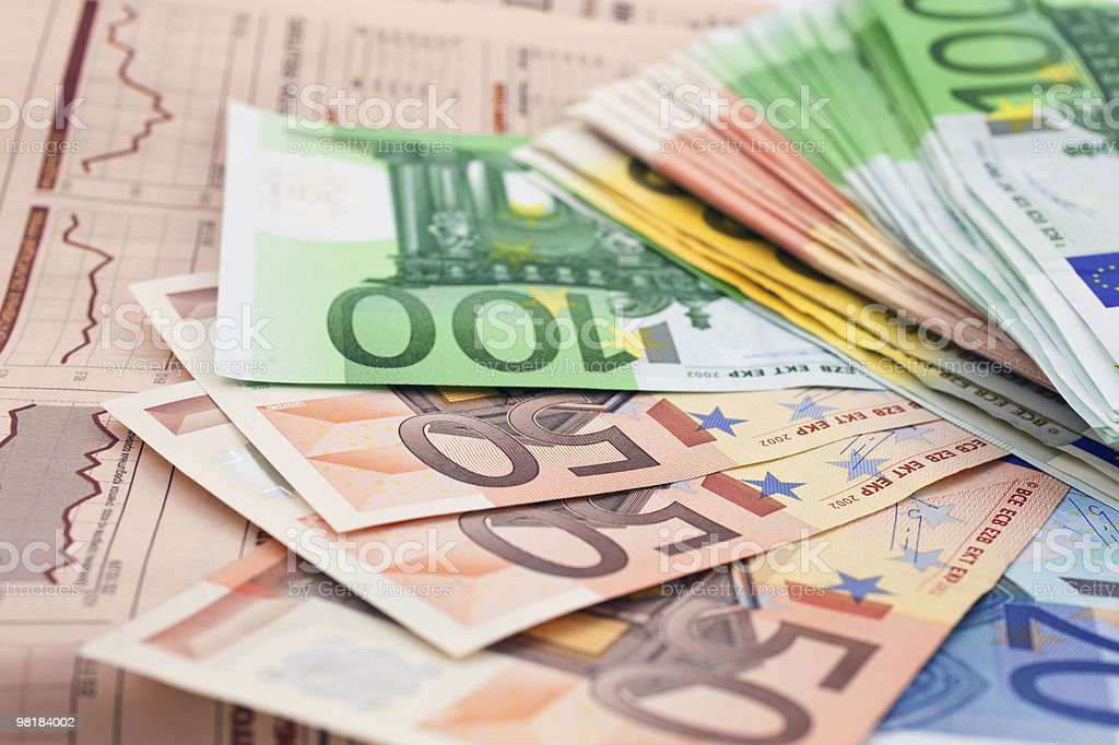 Euro notes on a financial newspaper royalty-free stock photo