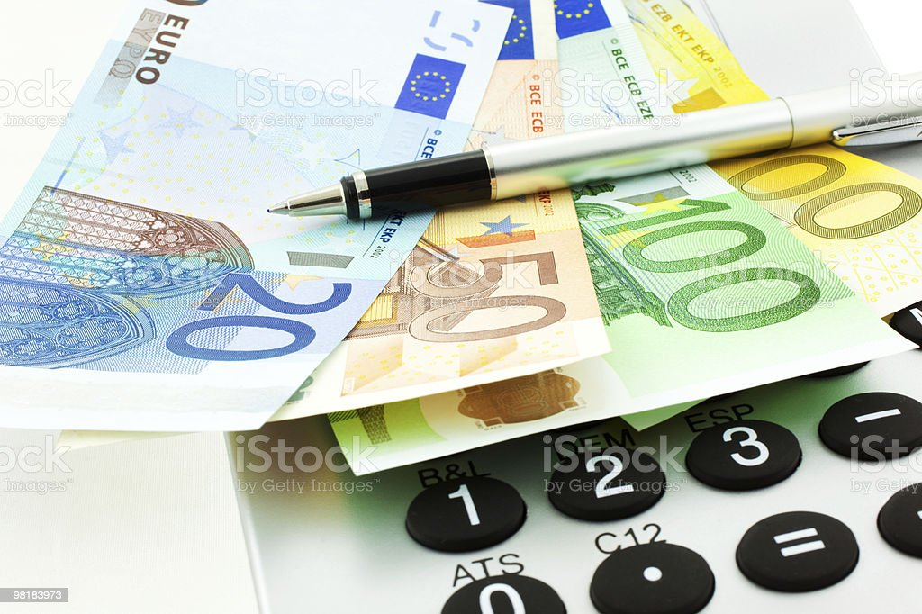 Euro Notes with Calculator and pen royalty-free stock photo