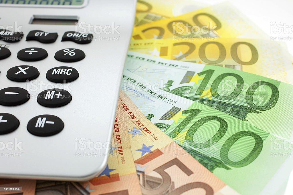 Banconote in Euro con Calcolatrice foto stock royalty-free