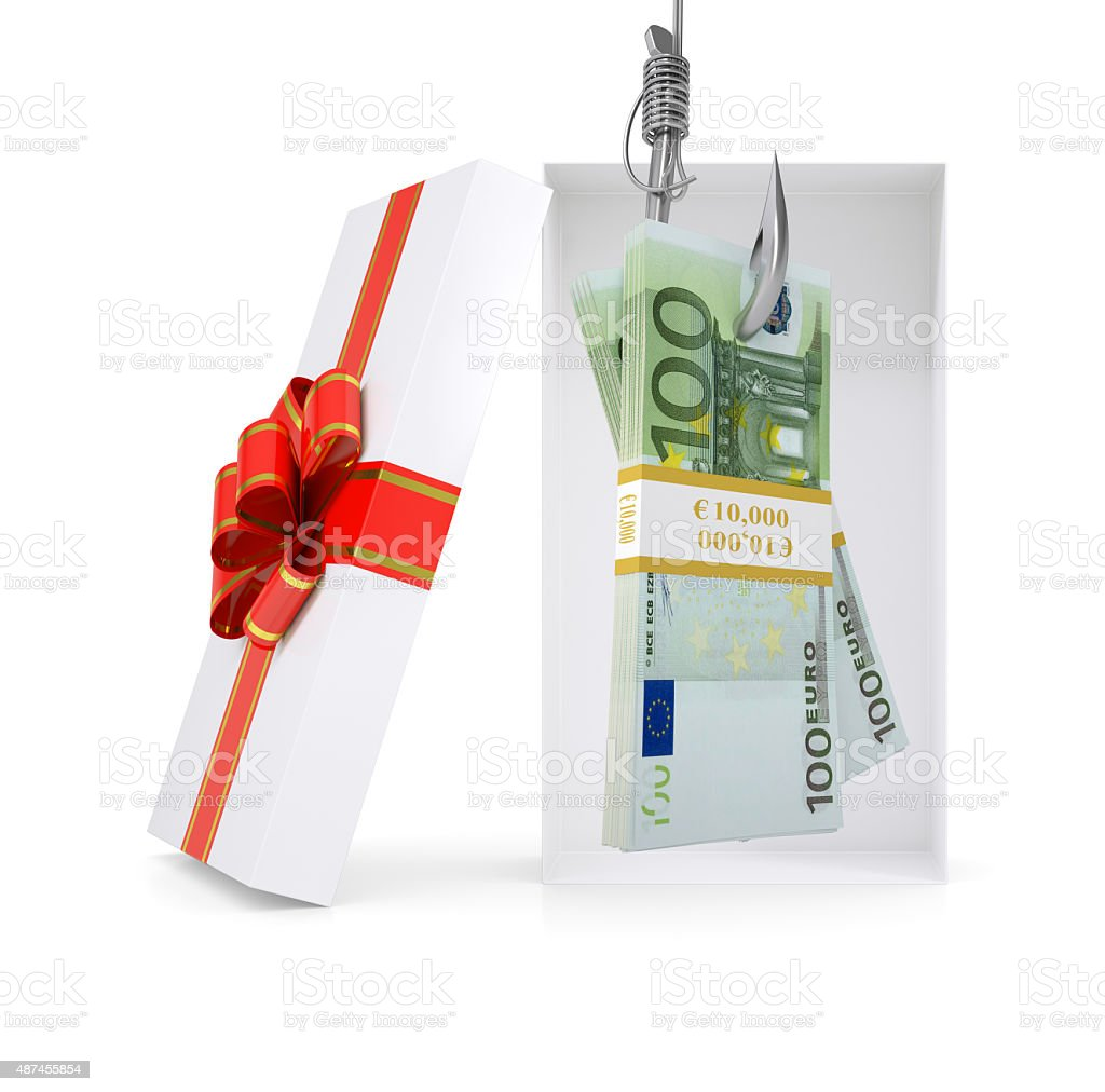 Euro on fish-hook in gift box stock photo
