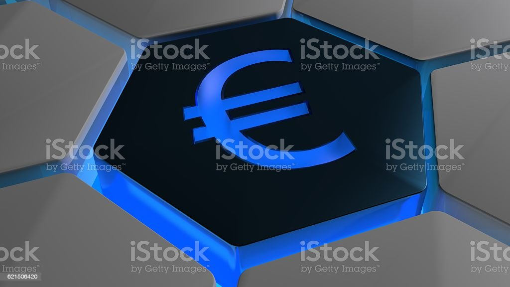 Euro on futuristic hexagon in blue backlight photo libre de droits