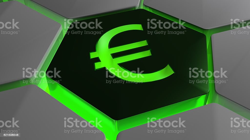 Euro on futuristic hexagon in green backlight photo libre de droits