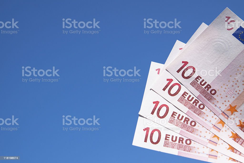 Euro Paper Currency Against a Blue Sky, Vivid Colors stock photo