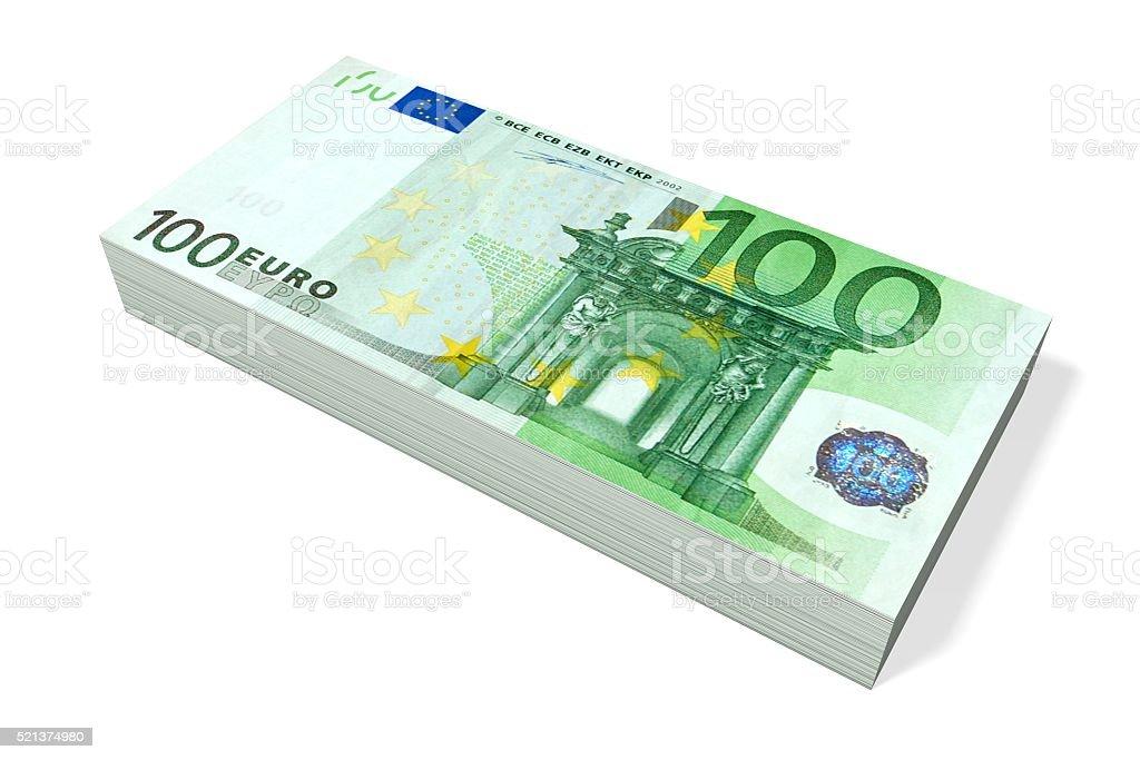 100 Euro - pile of money stock photo