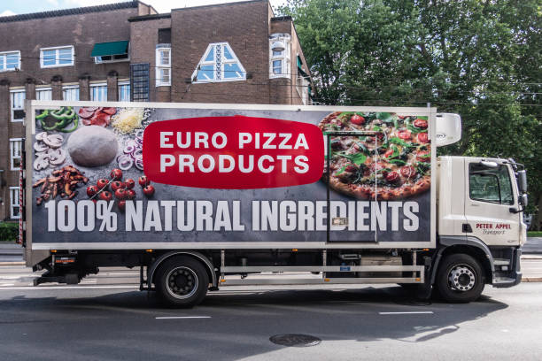 Euro Pizza producer delivery truck in Amsterdam Netherlands. stock photo