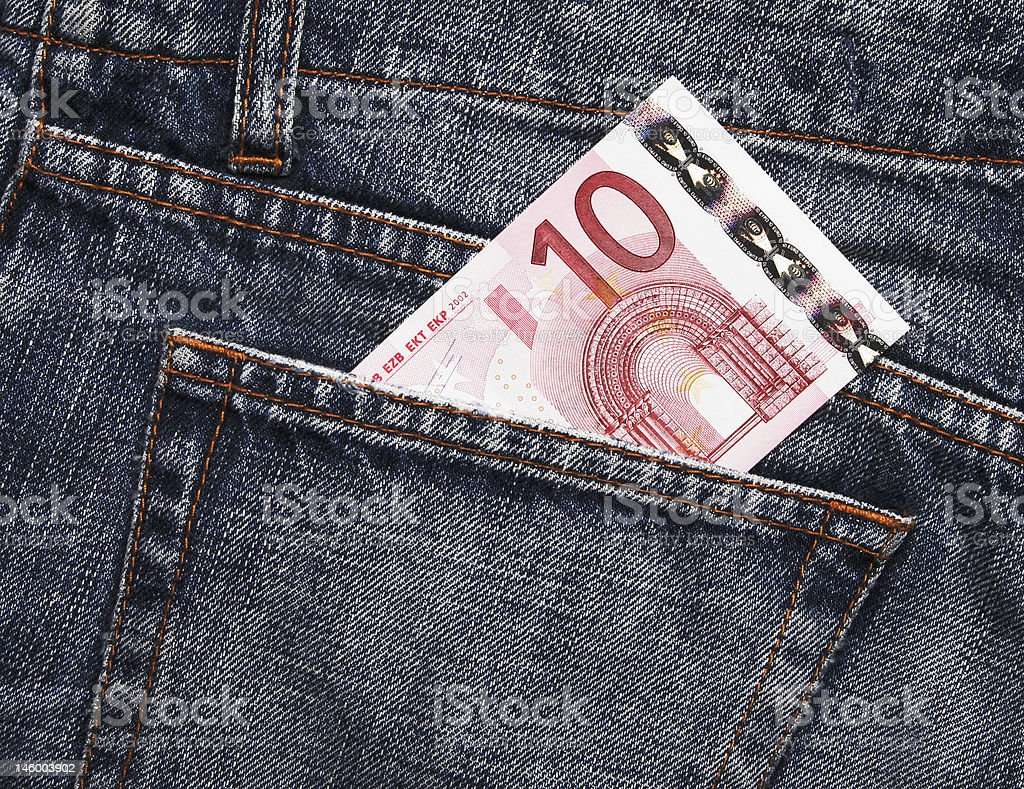 Euro Pocket Money In Blue Jeans royalty-free stock photo