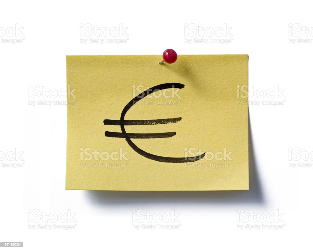 Euro. post-it. royalty-free stock photo