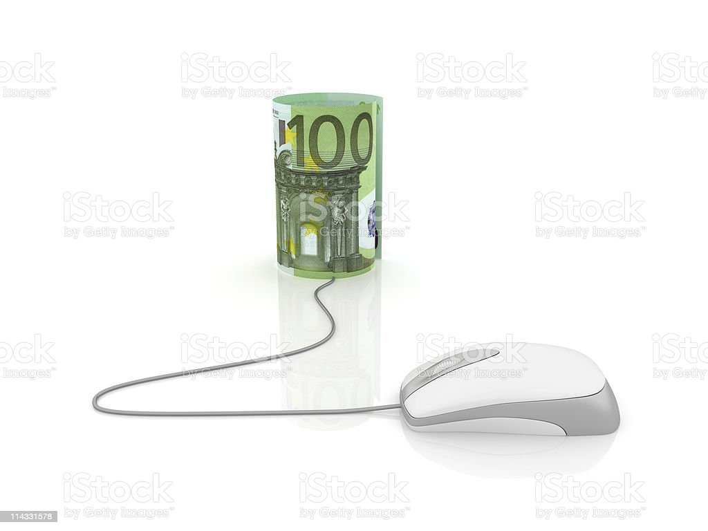 Euro Roll with Computer Mouse royalty-free stock photo