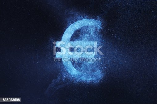 istock Euro sign, Euro Symbol. Abstract night sky background 858253598