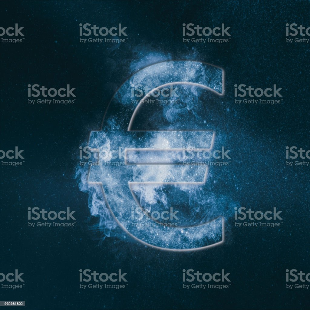 Euro sign, Euro Symbol. Monetary currency symbol. Abstract night sky background. stock photo