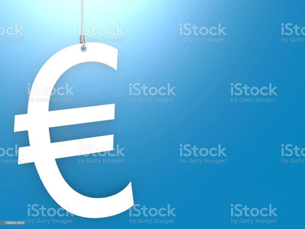 Euro sign hang with blue background, stock photo