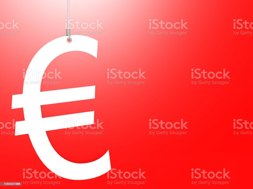 Euro sign hang with red background stock photo