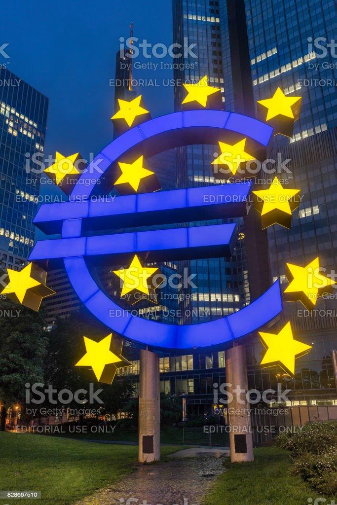 Euro sign in Frankfurt Germany stock photo