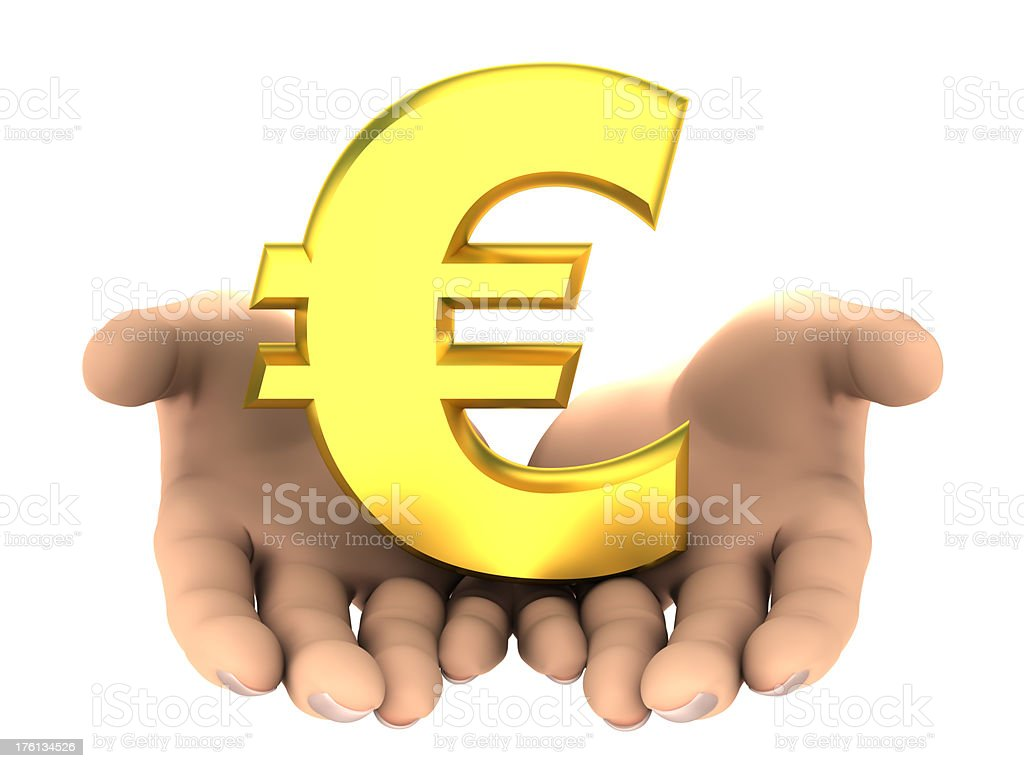 Euro sign in hands - isolated with clipping path royalty-free stock photo