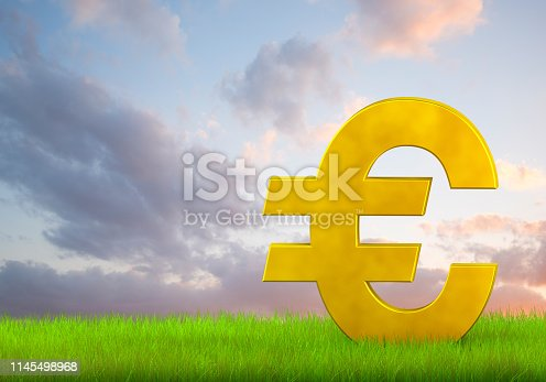 A euro sign in lush green grass on a cloudscape background